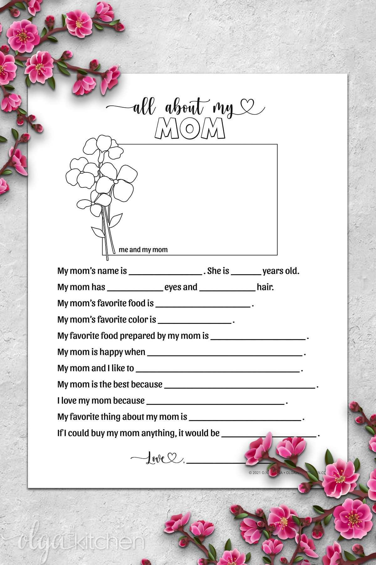 Printable All About My Mom Activity for kids.