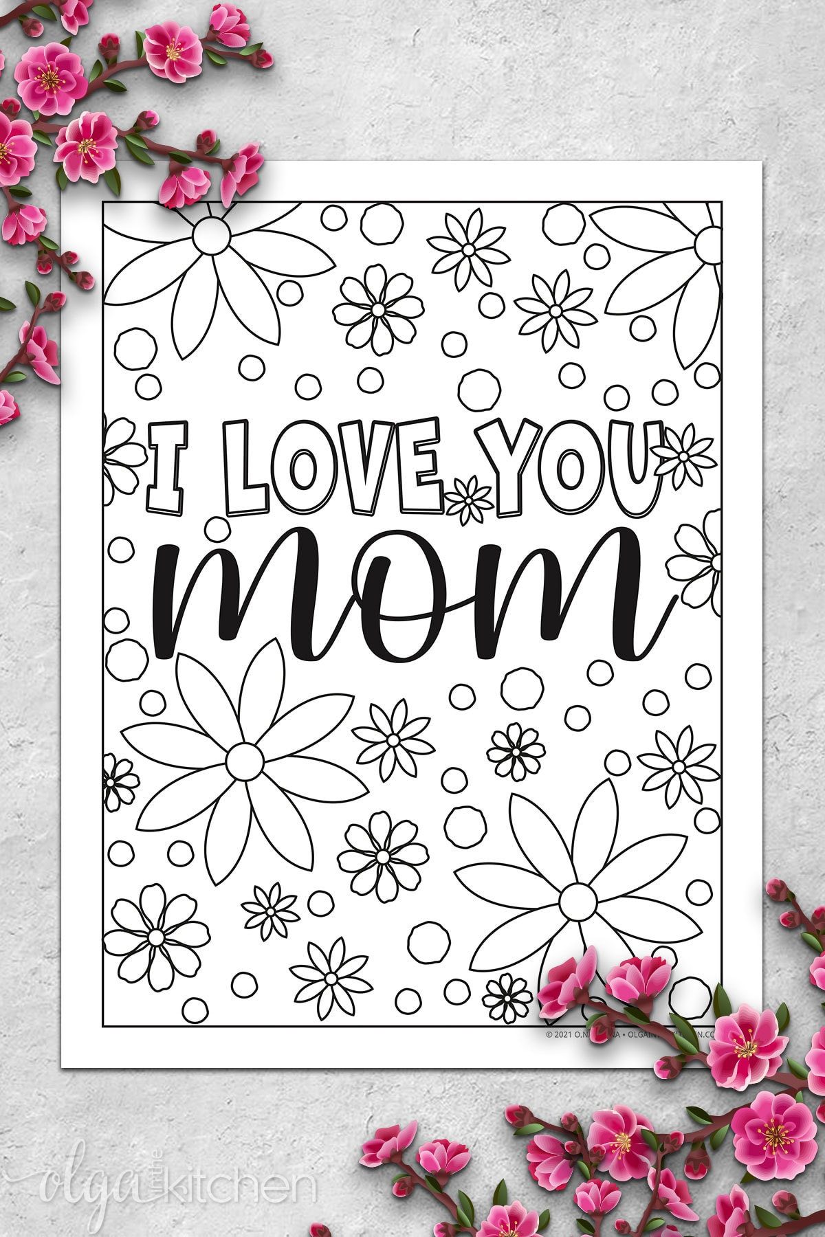 I Love You Mom Coloring Page.