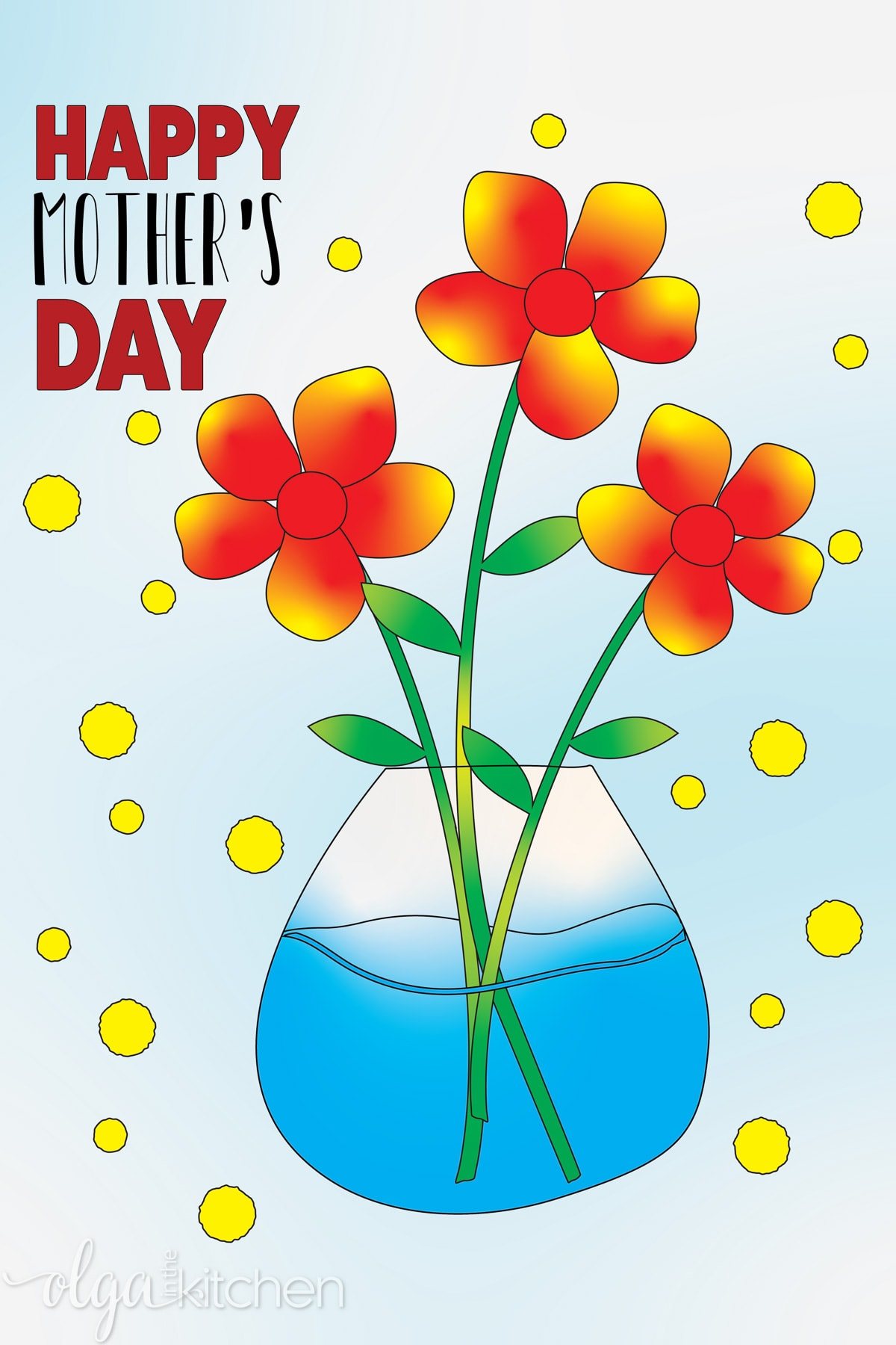 Printable Mother's Day Coloring Greeting Card.