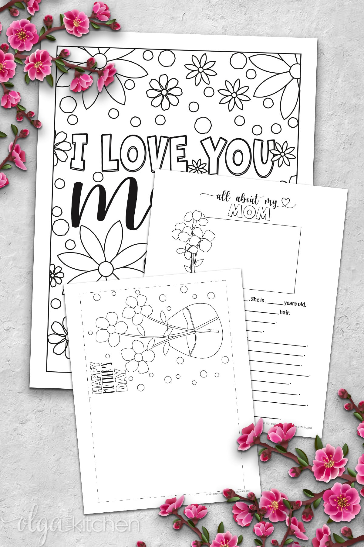 Printable Mother's Day card and coloring sheets.