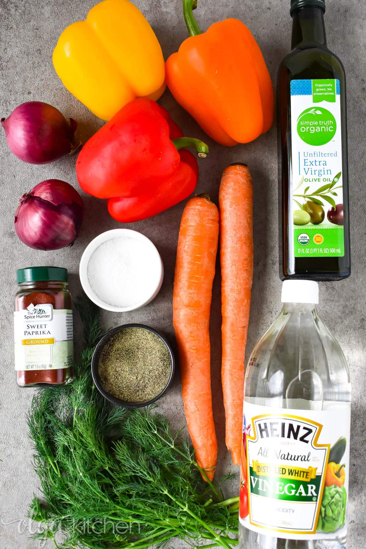 Ingredients for roasted pepper salad recipe.