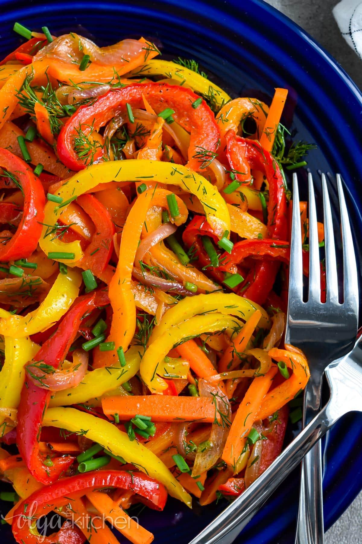 Oven roasted pepper salad recipe.
